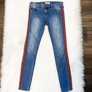 Free People Embroidered Side Stripe Skinny Jeans